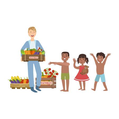 Voluntarios de meter la comida en Hungry niños Ilustración plana aislada en fondo blanco. Simplificada personaje de dibujos animados infantiles lindo de la misma manera. Ilustración de vector