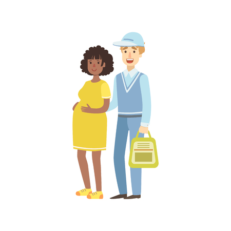 simplified: Volunteer Helping Pregnant Woman Flat Illustration Isolated On White Background. Simplified Cartoon Character In Cute Childish Manner.