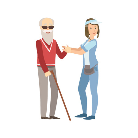 manner: Volunteer Helping A Blind Old Man Flat Illustration Isolated On White Background. Simplified Cartoon Character In Cute Childish Manner. Illustration