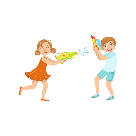 Jongen en Meisje die Waterpistolen spelen vechten Kleurrijke Vlakke Heldere Kleuren Vectorillustratie op Witte Achtergrond Stock Illustratie