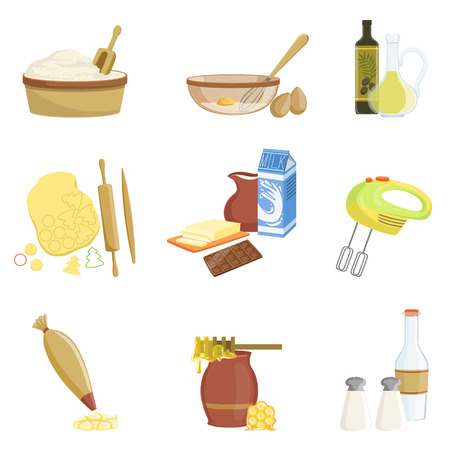 rolling bag: Baking Process And Kitchen Equipment Set Of Isolated Items. Simplified Realistic Flat Vector Drawings On White Background.