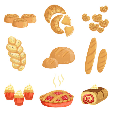 plat: Pastry And Bread Bakery Assortment Set Of Isolated Icons. Simplified Realistic Flat Vector Drawings On White Background.