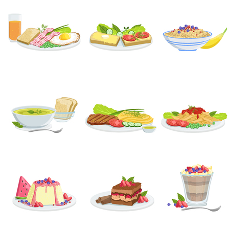 sweet course: European Cuisine Dish Assortment Menu Items Detailed Illustrations. Set Of Cafe Plates In Realistic Design Drawings.