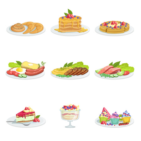 european cuisine: European Cuisine Food Assortment Menu Items Detailed Vector Illustrations. Set Of Cafe Plates In Realistic Design Drawings.