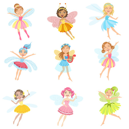chaplet: Cute Fairies In Pretty Dresses Girly Cartoon Characters Set. Childish Design Fairy-tale Magical Creatures Simple Adorable Illustrations