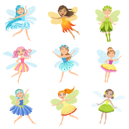 girly: Cute Fairies In Pretty Dresses Girly Cartoon Characters Collection. Childish Design Fairy-tale Creatures Simple Adorable Illustrations. Illustration