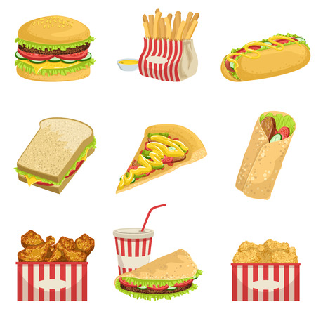 nuggets: Fast Food Menu Items Realistic Detailed Illustrations. Take Away Lunch Set Of Icons Isolated On White Background.