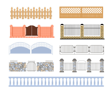assortment: Fences Of Different Materialls Set Of Designs. Assortment Of Edging And Fencing Creative Ideas.