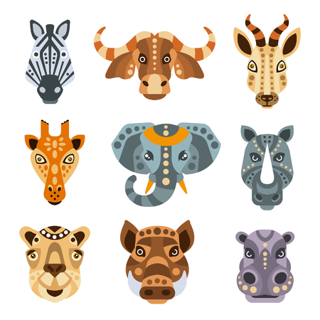 African Animals Stylized Geometric Portrait Set Of Flat Colorful Vector Icons Isolated On White Background Ilustracja
