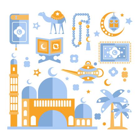 religious celebration: Muslim Religious Holiday Symbols Set. Ramadan Celebration Decorative Elements Flat Blue And Orange Vector Geometric Illustration