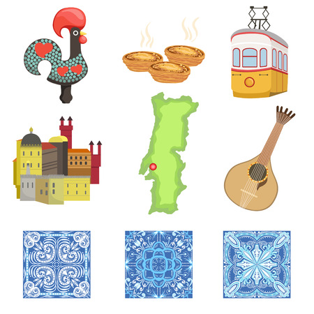 custard: Portuguese National Symbols Collection Of Objects. Famous Portuguese Things Azulejos, Rooster, Serra De Sintra, Guitar, Map, Custard Tart Vector Illustration. Illustration