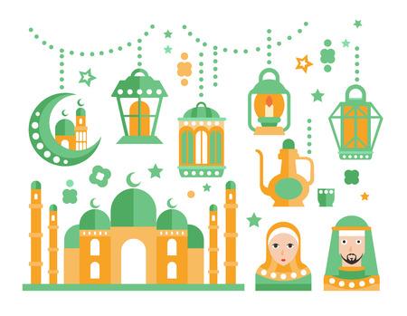 religious celebration: Islamic Religious Holiday Symbols Set. Ramadan Celebration Decorative Elements Flat Green And Orange Vector Geometric Illustration