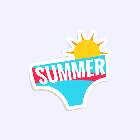 Male Swimwear Bright Color Summer Inspired Isolated Sticker With Text Simple Cartoon Childish Flat Vector Design Illustration