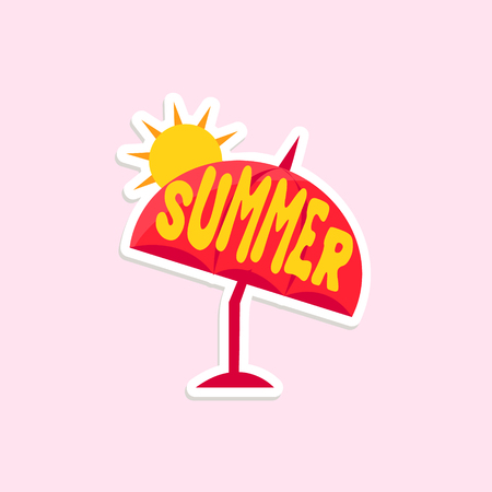 inspired: Beach Umbrella Bright Color Summer Inspired Isolated Sticker With Text Simple Cartoon Childish Flat Vector Design