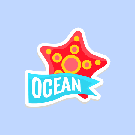 inspired: Starfish Bright Color Summer Inspired Isolated Sticker With Text Simple Cartoon Childish Flat Vector Design