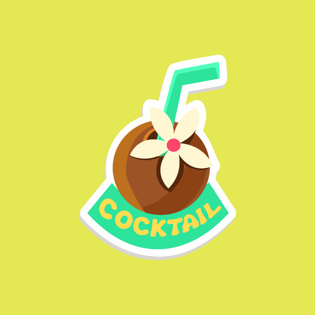 Tropical Coctail Bright Color Summer Inspired Isolated Sticker With Text Simple Cartoon Childish Flat Vector Design Illustration