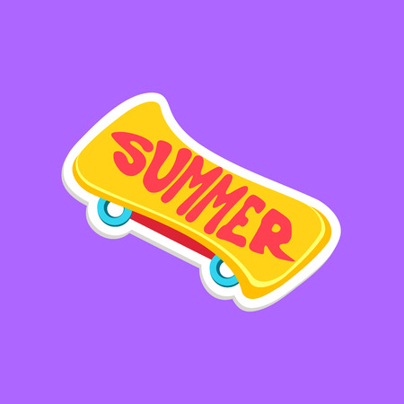 skate board: Skate Board Bright Color Summer Inspired Isolated Sticker With Text Simple Cartoon Childish Flat Vector Design