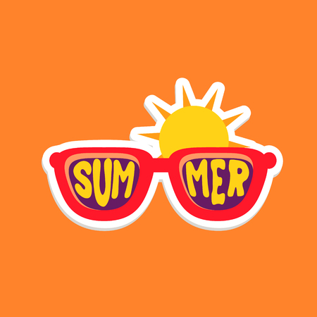 inspired: Pair Of Shades Bright Color Summer Inspired Isolated Sticker With Text Simple Cartoon Childish Flat Vector Design Illustration