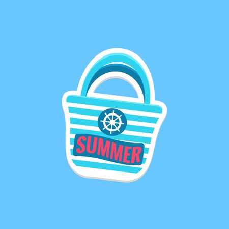 beach bag: Beach Bag Bright Color Summer Inspired Isolated Sticker With Text Simple Cartoon Childish Flat Vector Design Illustration