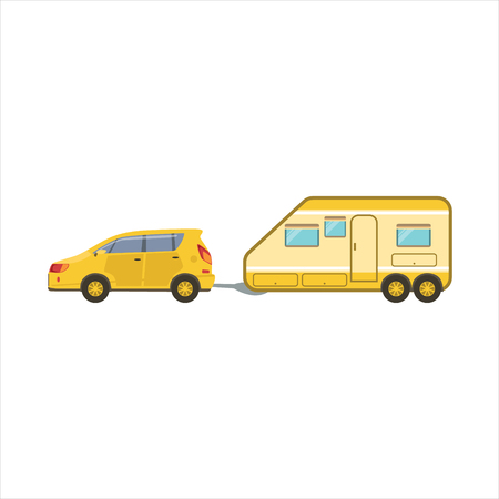 motorhome: Yellow Car Pulling The Trailer Icon. Family Motorhome Flat Colorful Car. Microbus For Family Vacation Isolated Illustration.