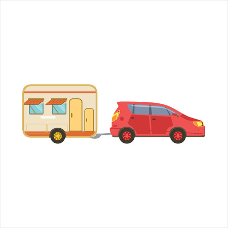 motorhome: Red Car Pulling The Trailer Icon. Family Motorhome Flat Colorful Car. Microbus For Family Vacation Isolated Illustration.