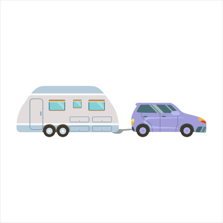 Car Pulling The Trailer Icon. Family Motorhome Flat Colorful Car. Microbus For Family Vacation Isolated Illustration. Illustration