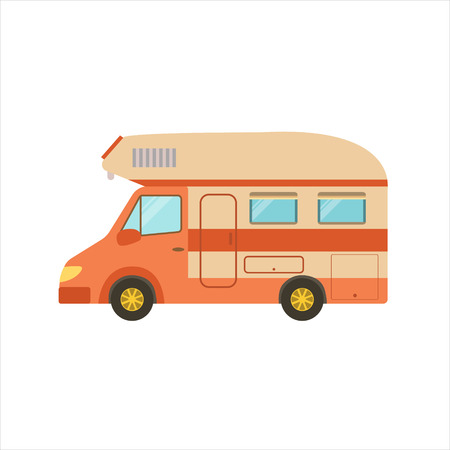 family isolated: Orange Stripy Travel Van Icon. Family Motorhome Flat Colorful Car. Microbus For Family Vacation Isolated Illustration.