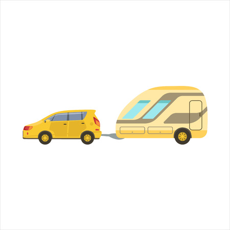 yellow adventure: Yellow Car Pulling The Trailer Icon. Family Motorhome Flat Colorful Car. Microbus For Family Vacation Isolated Illustration.