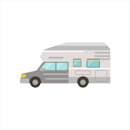 Grey Stripy Travel Van Icon. Family Motorhome Flat Colorful Car. Microbus For Family Vacation Isolated Illustration. Illustration