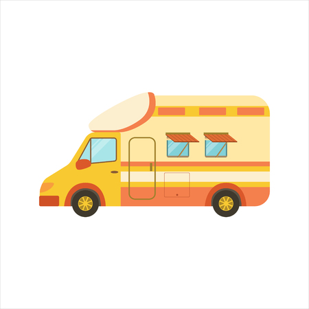 family van: Orange Stripy Travel Van Icon. Family Motorhome Flat Colorful Car. Microbus For Family Vacation Isolated Illustration.