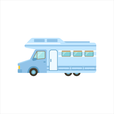 family isolated: Travel Van Icon. Family Motorhome Flat Colorful Car. Microbus For Family Vacation Isolated Illustration.