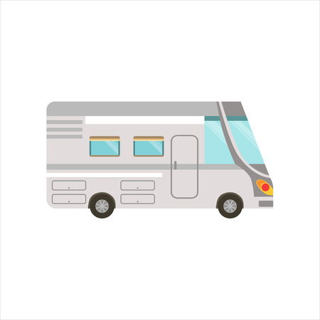 motorhome: Grey Stripy Travel Van Icon. Family Motorhome Flat Colorful Car. Microbus For Family Vacation Isolated Illustration. Illustration