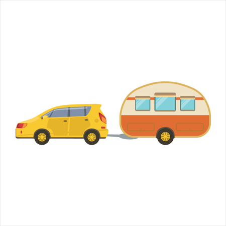 family vacation: Yellow Car Pulling Retro Trailer Icon. Family Motorhome Flat Colorful Car. Microbus For Family Vacation Isolated Illustration. Illustration