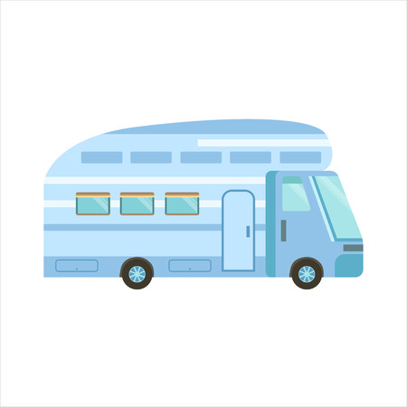family isolated: Blue Modern Travel Van Icon. Family Motorhome Flat Colorful Car. Microbus For Family Vacation Isolated Illustration.