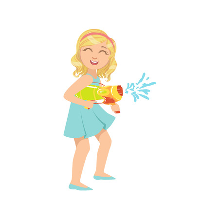 Girl Shooting A Water Pistol Colorful Flat Bright Color Vector Illustration On White Background