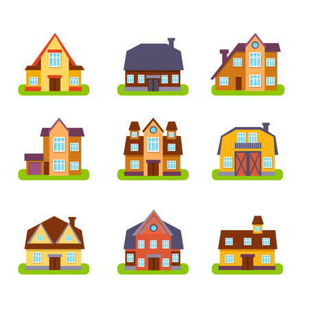 suburban: Suburban Real Estate Houses Set In Primitive Geometric Flat Vector Design Isolated On White Background
