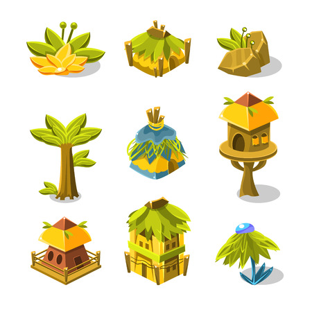 indian village: Video Game Indian Village Design Collection Of Elements In Cute Vector Childish Style Isolated On White Background Illustration