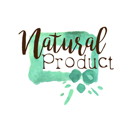 Natural Fresh Products Promo Sign Watercolor Stylized Logo With Text On White Background