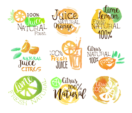 orange juice: Natural Citrus Juice Promo Signs Colorful Set Of Watercolor Stylized Logo With Text On White Background