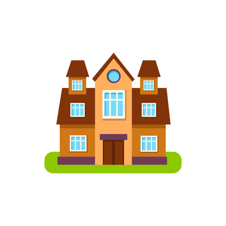 suburban house: Simmetrical Suburban House Exterior Design With Towers Primitive Geometric Flat Vector Drawing Isolated On White Background