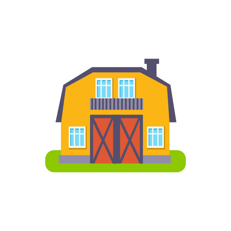 suburban house: Yellow Barn Suburban House Exterior Design Primitive Geometric Flat Vector Drawing Isolated On White Background Illustration