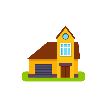 suburban house: One Window Suburban House Exterior Design With Garage Primitive Geometric Flat Vector Drawing Isolated On White Background