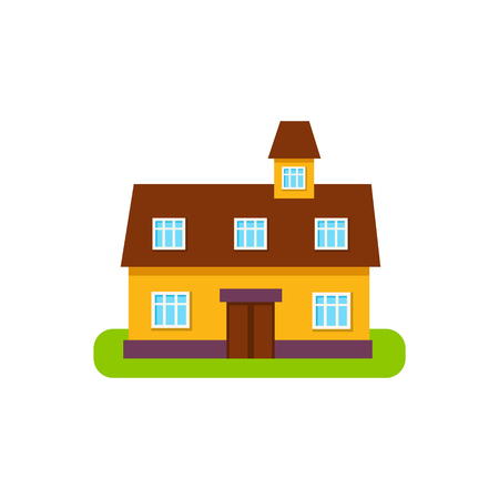 suburban house: Suburban House Exterior Design With Attic Storey Primitive Geometric Flat Vector Drawing Isolated On White Background Illustration