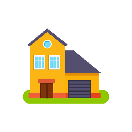suburban house: Orange Suburban House Exterior Design With Garage Primitive Geometric Flat Vector Drawing Isolated On White Background Illustration