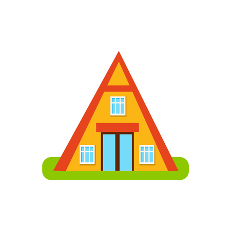 suburban house: Pyramid Shaped Suburban House Exterior Design Primitive Geometric Flat Vector Drawing Isolated On White Background Illustration