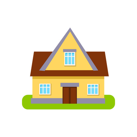 suburban house: Classic Cottage Suburban House Exterior Design Primitive Geometric Flat Vector Drawing Isolated On White Background