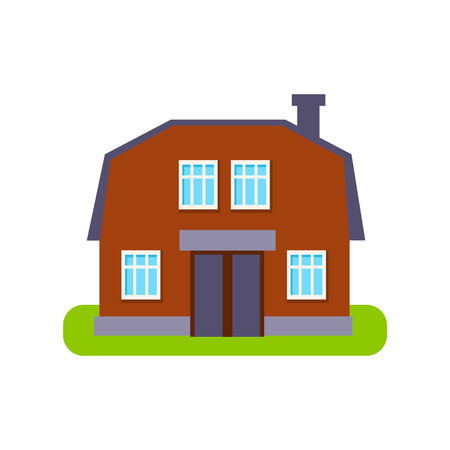 suburban house: Brown Barn Suburban House Exterior Design Primitive Geometric Flat Vector Drawing Isolated On White Background