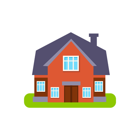 suburban house: Terracota Family Cottage Suburban House Exterior Design Primitive Geometric Flat Vector Drawing Isolated On White Background Illustration
