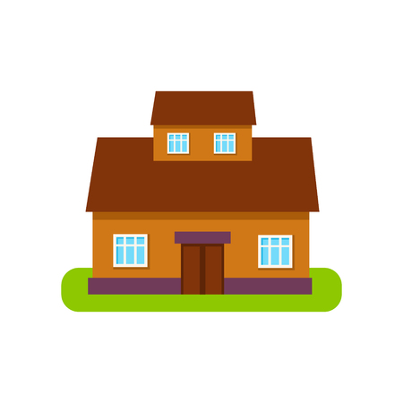 suburban house: Brown Suburban House Exterior Design With Attic Storey Primitive Geometric Flat Vector Drawing Isolated On White Background