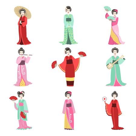 prostituta: Geisha japonesa del kimono en diferentes Realización Conjunto de piso personajes realistas simples en el fondo blanco con símbolos culturales